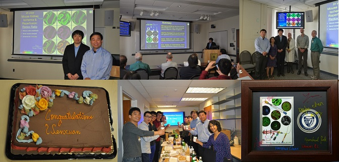 Wenxuan Thesis Defense: the committee, the conference room, the group, the diploma frame, and post-defense celebration